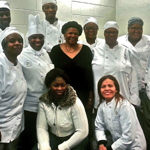 Charlotte Lyons with future chefs at Atlanta Tech