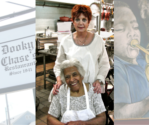 Chef Leah Chase & Author Patricia Dennis at Dooky Chase's